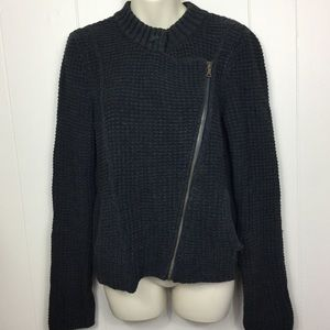 Calvin Klein zip front sweater charcoal gray med